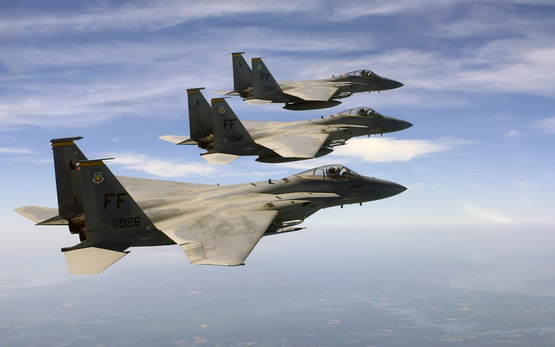 f 15 eagles over atlantic ocean wide