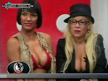 Michelle Notagay and Roxana Suster busty beauties cleavage on tv